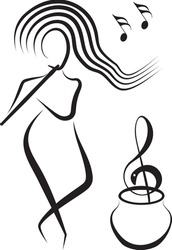 Woman playing flute for hypnotize an abstract snake in form of treble clef on basket. Outline vector.
