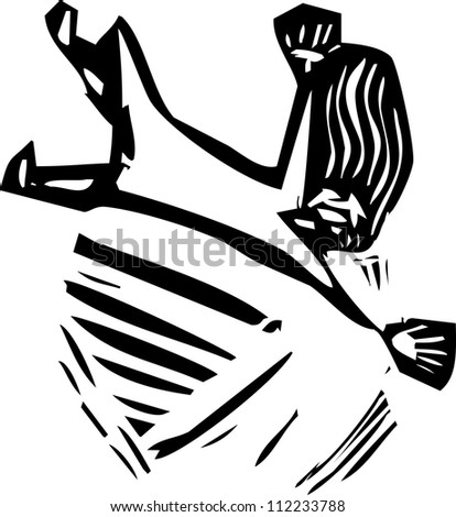 Woman plummeting through space in woodcut style.
