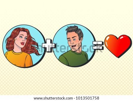 woman plus man equal love