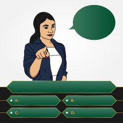 Woman pointing at screen asking questions with options showing