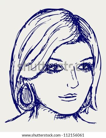 Woman portrait. Doodle style