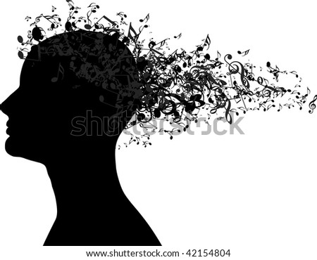 Woman portrait silhouette with music notes as hair