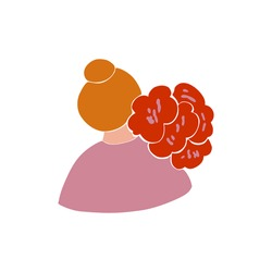 Woman portrait with flowers in abstract style. Vector abstract illustration of girl in modern style.