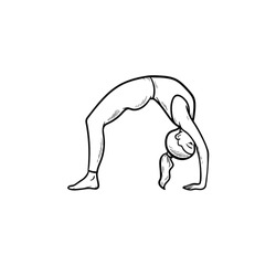 Woman practicing yoga bridge pose hand drawn outline doodle icon. Healthy lifestyle, yoga exercises concept. Vector sketch illustration for print, web, mobile and infographics on white background.