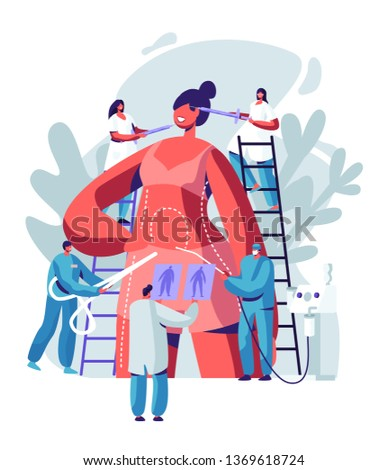 Woman Preparing for Plastic Surgery. Doctor Characters Drawing Lines on Body and Put Injections in Face, Liposuction and Cosmetics Procedure. Beauty Medicine Industry. Cartoon Flat Vector Illustration