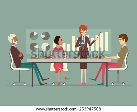 Woman presenting a growth chart at a meeting