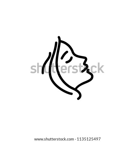 Woman profile line icon. Face, cosmetology, beautician. Beauty care concept. Can be used for topics like beauty salon, dermatology, aesthetic procedure