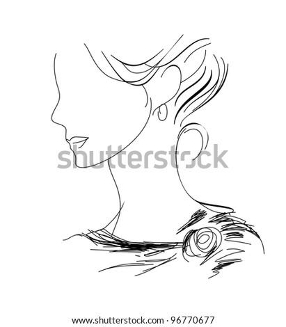 woman profile sketch - stock vector
