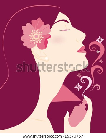 woman profile with perfume - stock vector