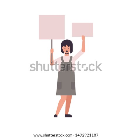 woman protester holding blank placards female activist with empty sign banners protest demonstration concept flat full length