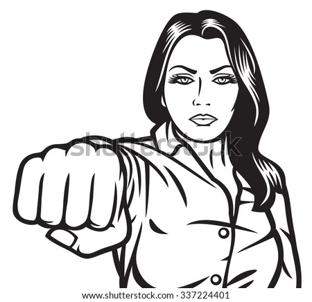 woman punching  beauty girl