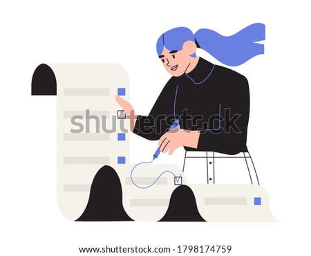 Woman put a tick on to do list. Business task. Female employee fill out checklist. Successeful work planning, mission complete concept. Check contract details or personal information or data.