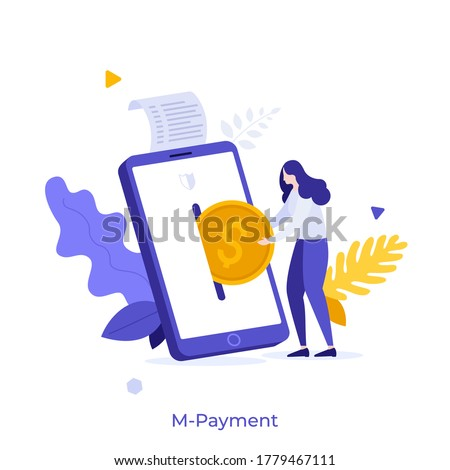 Woman putting dollar coin into slot on smartphone. Concept of application or service for mobile payment, secure transaction, technology for electronic commerce.Modern flat colorful vector illustration