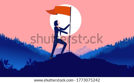 Woman raising flag on hilltop - Successful businesswoman planting waving flag outdoors in nature. female success, achievement, career goals, and conquer adversity concept. Vector illustration. Stock photo ©
