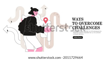 Woman read map and choose which way to go or direction to take. Concept of challenge, right decision making, life and career crossroads, effective business solution. Female character with gps pin.
