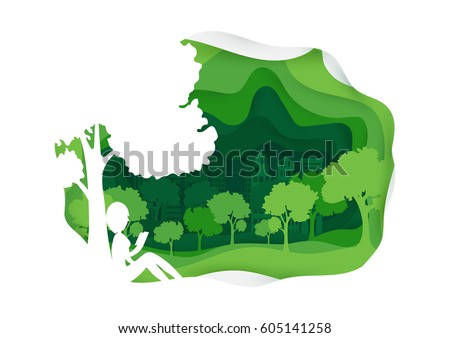 Woman reading a book under the tree in the garden. Urban lifestyle concept. Leisure time. Paper art style.Horizontal vector illustration.