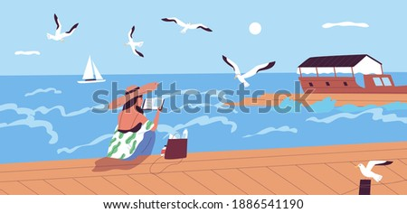 Woman reading book at waterfront alone vector flat illustration. Female character spending time alone enjoying literature and summer sea landscape. Relaxed person sitting on embankment Stock photo ©