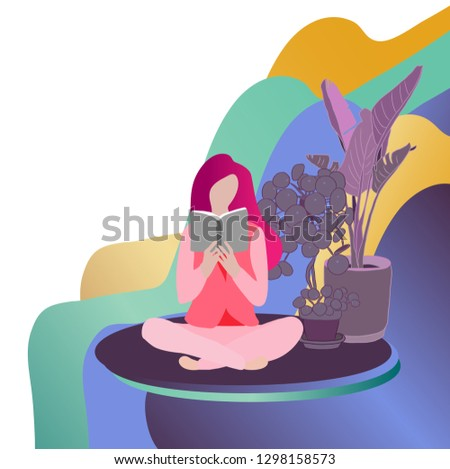 woman reading book. Concept of reading and learning. Self learning. Vector flat image.