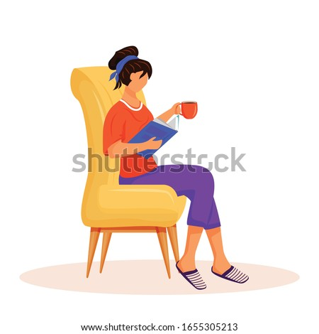 Woman reading book flat color vector faceless character. Lady relaxing at home in chair. Girl with hot drink on sofa. Female reading magazine. Recreation isolated cartoon illustration