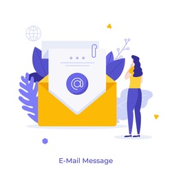 Woman reading incoming electronic letter in envelope. Concept of e-mail, internet message, online communication, digital correspondence. Modern flat colorful vector illustration for poster, banner.