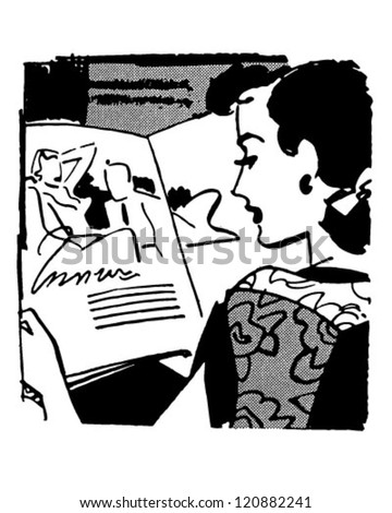 Woman Reading Magazine - Retro Clipart Illustration