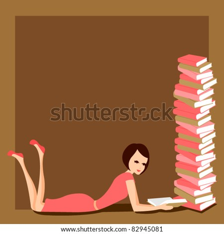 Stock Photo woman reading with stack of books vector
