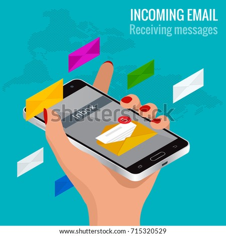Woman received an e-mail online on a mobile phone. Message online Incoming email isometric vector concept. Receiving messages