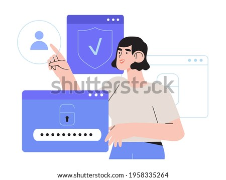 Woman register online on different devices. Registration or sign up user interface. User use secure login and password protection on website or social media account. Vector illustrations for UI, app.