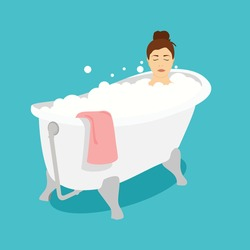 Woman relaxing in bath with foam bubbles. Taking bath in bathtube. Bath time. Vector