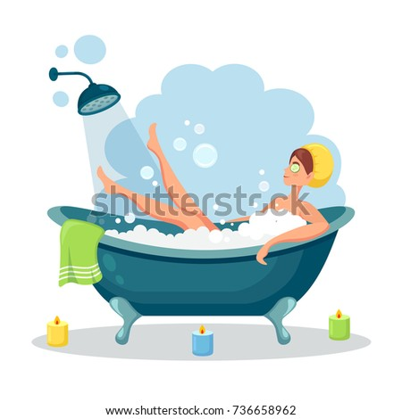 Stock Photo Woman relaxing in bathtub with candles. Bath with foam and shower isolated on background. Spa in bathroom interior. Vector illustration. Flat style design