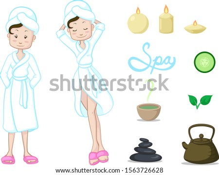 woman relaxing on a spa day, with relaxation elements