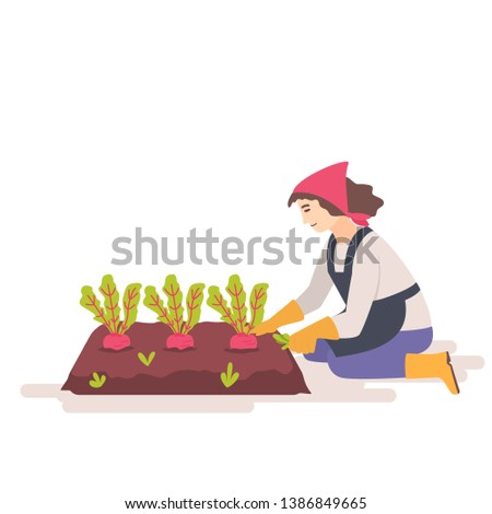 Woman removes weeds from the garden bed. Weed control concept. Female gardener weeding weed plants grass in vegetable beds. Flat vector illustration.