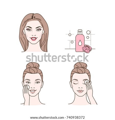 Woman removing make up with lotion. Line style vector illustration isolated on white background.