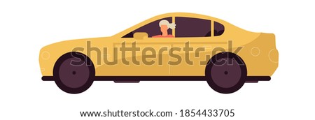 Woman rides car. Modern yellow transport. Cartoon young female driving vehicle. Isolated personal auto for moving around city or traveling by automobile. Vector urban transportation illustration