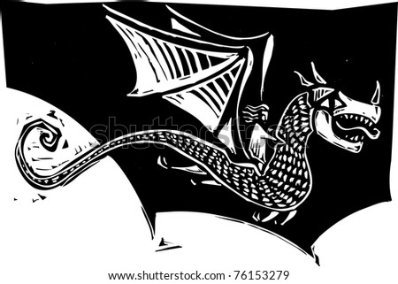 Woman riding on the back of a dragon in a woodcut style image.