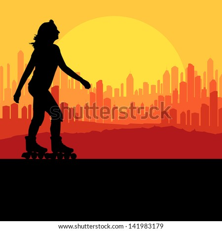 woman roller skating vector