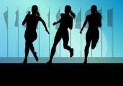Woman runner female sprinter group vector background concept