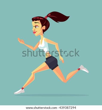 Woman running. Sport woman. Vector flat cartoon illustration #439387294