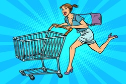 Woman running with shopping cart. Pop art retro vector illustration vintage kitsch