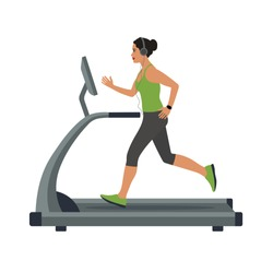 woman runs on a treadmill and listens to music on headphones