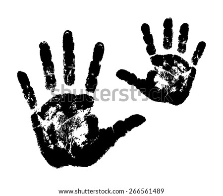 Woman's and child's handprints. Vector illustration