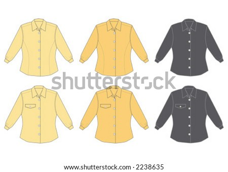 Woman's blouse, long sleeve, three different colours, two different models, front view.