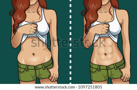 woman's body before and after