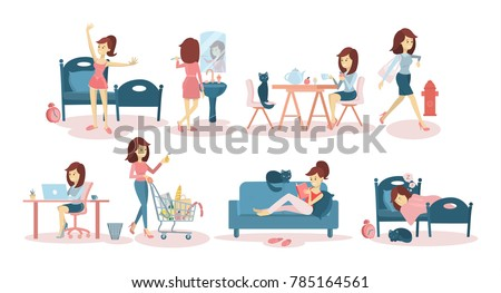 woman's daily routine at home