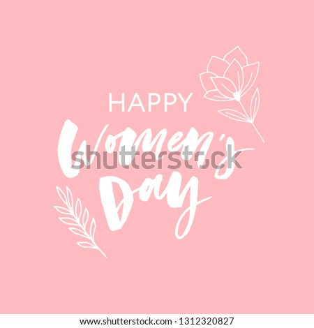 Woman s Day text design with flowers and hearts on square background. Vector illustration. Woman s Day greeting calligraphy design in pink colors. Template for a poster, cards, banner