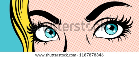 woman's eyes close up  pop art