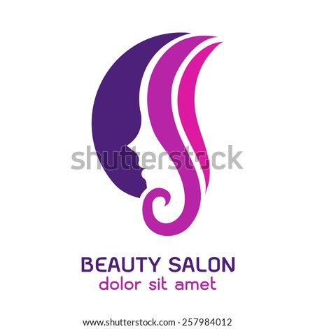 Woman 39 s face in circular shape abstract design concept for Abstract beauty salon