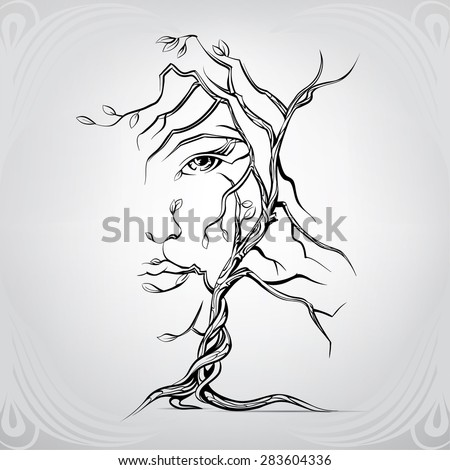 Stock Photo Woman's face in the form of a tree