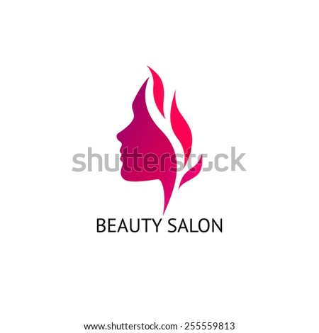 Woman\'s face silhouette. Abstract business concept for beauty salon, barber shops, massage, cosmetic and spa. Vector logo design template.