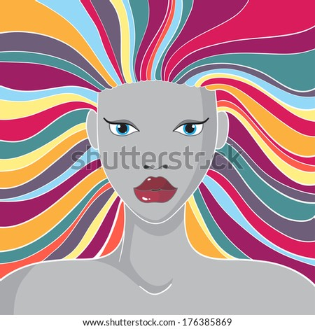 Woman\'s face with long colorful hair